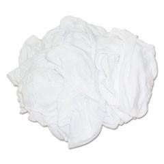 New Bleached White T-Shirt Rags, Multi-Fabric, 25 lb Polybag