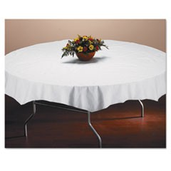 "1Tissue/Poly Tablecovers, 82"" Diameter, White, 25/Carton"