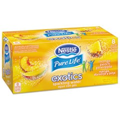 Pure Life Exotics Sparkling Water, Mango Peach Pineapple, 12oz Can, 24/Carton