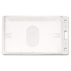 Frosted Rigid Badge Holder, 3 3/8 x 2 1/8, Clear, Vertical, 25/BX