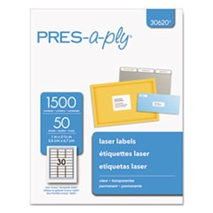 Labels, Laser Printers, 1 x 2.63, Clear, 30/Sheet, 50 Sheets/Box