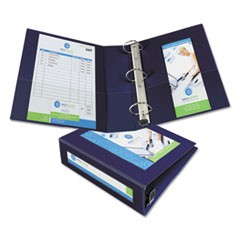 "Framed View Heavy-Duty Binders, 3 Rings, 3"" Capacity, 11 x 8.5, Navy Blue"