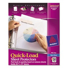 Quick Top & Side Loading Sheet Protectors, Letter, Non-Glare, 50/Box