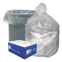 High Density Waste Can Liners, 56gal, 14 Microns, 43 x 46, Natural, 200/Carton