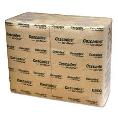 Cascades for ServOne Napkins, 1-Ply, 6 1/2 x 4 1/4, Natural, 376/Pk, 6016/Carton