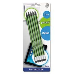 Wopex Pencil with Stylus, Green/Black, 5/Pack