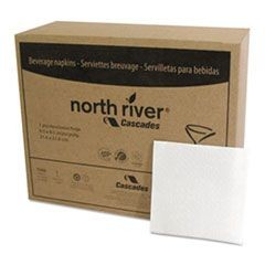 North River Beverage Napkins, 1 Ply, 8 1/2 x 8 1/2, White, 1000/Pk, 4000/Crtn