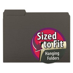 Interior File Folders, 1/3 Cut Top Tab, Letter, Black, 100/Box
