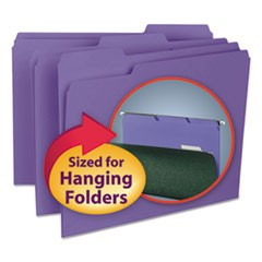 Interior File Folders, 1/3 Cut Top Tab, Letter, Purple, 100/Box