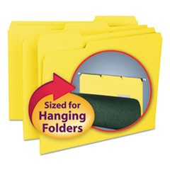Interior File Folders, 1/3-Cut Tabs, Letter Size, Yellow, 100/Box