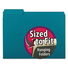 Interior File Folders, 1/3-Cut Tabs, Letter Size, Teal, 100/Box