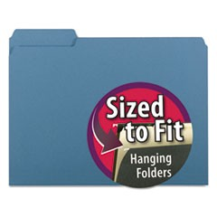 Interior File Folders, 1/3 Cut Top Tab, Letter, Blue, 100/Box