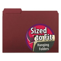 Interior File Folders, 1/3 Cut Top Tab, Letter, Maroon, 100/Box