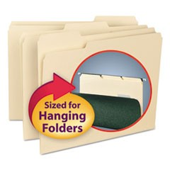 Interior File Folders, 1/3 Cut Top Tab, Letter, Manila, 100/Box