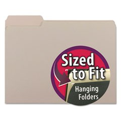 Interior File Folders, 1/3-Cut Tabs, Letter Size, Gray, 100/Box