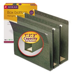 Three Inch Expansion Box Bottom Hanging File Folders, Letter, Green, 25/Box