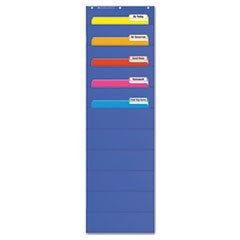 "Pocket Charts, File Organizer, 14"" x 46 1/2"", Blue, Plastic"