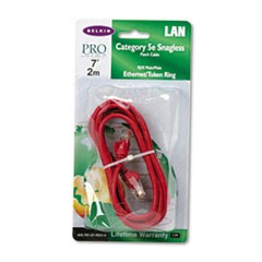 CAT5e Snagless Patch Cable, RJ45 Connectors, 7 ft., Red