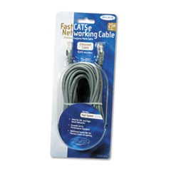 FastCAT 5e Snagless Patch Cable, RJ45 Connectors, 25 ft., Gray