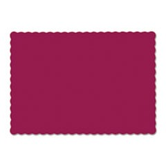 Solid Color Scalloped Edge Placemats, 9.5 x 13.5, Burgundy, 1,000/Carton