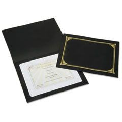 7510015195770, Gold Foil Document Cover, 12 1/2 x 9 3/4, Black, 5/Pack