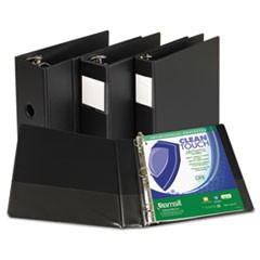 "Clean Touch Antimicrobial Locking D-Ring Binder, 11 x 8-1/2, 1"" Cap, Black"