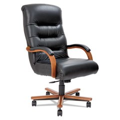 Horizon Collection Executive High Back Chair, Black Leather/Natural Cherry