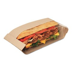 Dubl View Sandwich Bags, 11 3/4 x 4 1/4 x 2 3/4, Natural Brown, 500/Carton