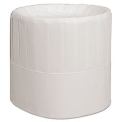Pleated Chef's Hats, Paper, White, Adjustable, 7 in. Tall, 28/Carton