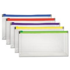 "Poly Zip Envelope, Zipper Closure, Assorted, 10.13"" x 5.13"", 5/Pack"