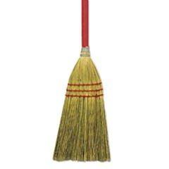 "Corn/Fiber Lobby Brooms, 36"", Gray/Natural, 12/Carton"