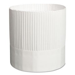 Stirling Fluted Chef's Hats, Paper, White, Adjustable, 7 in. Tall, 15/Carton