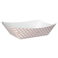 Kant Leek Polycoated Paper Food Tray, 3 lb Capacity, 8.4 x 5.8 x 2.1, Red Plaid, 250/Bag, 2 Bags/Carton