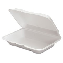 Foam Hinged Container, 9 1/4 x 6 1/4 x 2.31, White, 100/Bag, 2 Bag/Carton