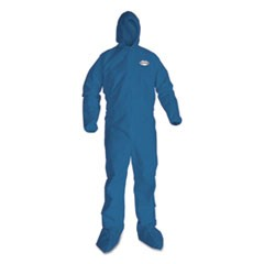 A20 Elastic Back Wrist/Ankle, Hood/Boots Coveralls, 3X-Large, Blue, 20/Carton