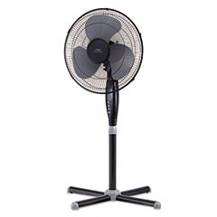 "16"" Three-Speed Oscillating Pedestal Fan, Three Speed, Metal/Plastic, Black"