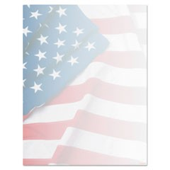 Design Paper, 24 lbs., Flag, 8 1/2 x 11, Blue/Red/White, 100/Pack