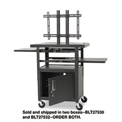 Height-Adjustable TV Cart, Four-Shelf, 24w x 18d x 62h, Black (Box 2 of 2)