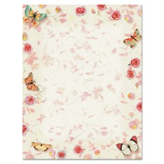 Design Paper, 24 lbs., Butterflies, 8 1/2 x 11, White, 100/Pack