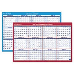 Horizontal Erasable Wall Planner, 36 x 24, Blue/White - 2015-2016, Red - 2016