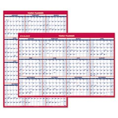 Erasable Vertical/Horizontal Wall Planner, 32 x 48, Blue/Red, 2016