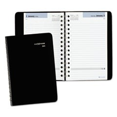 Daily Appointment Book with Hourly Appointments, 8 x 4 7/8, Black, 2019