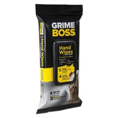 Grime Boss Hand and Surface Wipes, White, 8.2 x 9.8, 30/Pack