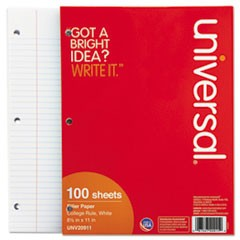 Mediumweight 16-lb. Filler Paper, 11 x 8-1/2, College Ruled, White, 100 Shts/Pk