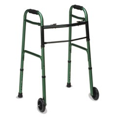 "2-Button Release Folding Walker w/Wheels, Green/Green Ice, Aluminum, 32-38""H"