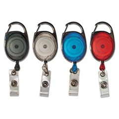 "Carabiner-Style Retractable ID Card Reel, 30"" Extension, Assorted Colors, 20/PK"