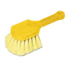 "Long Handle Scrub, 8"" Plastic Handle, Yellow Handle w/Yellow Bristles"
