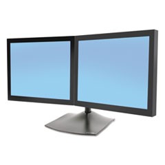 DS100 Horizontal Dual-Monitor Desk Stand, 28w x 12.38d x 14.25h, Black