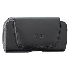 Horizontal Pouch for Belt, Leather, Contoured Flap, Black