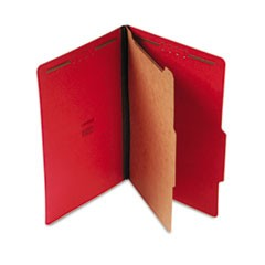 Bright Colored Pressboard Classification Folders, 1 Divider, Legal Size, Ruby Red, 10/Box